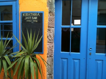 Colourful jazz bar, Fira