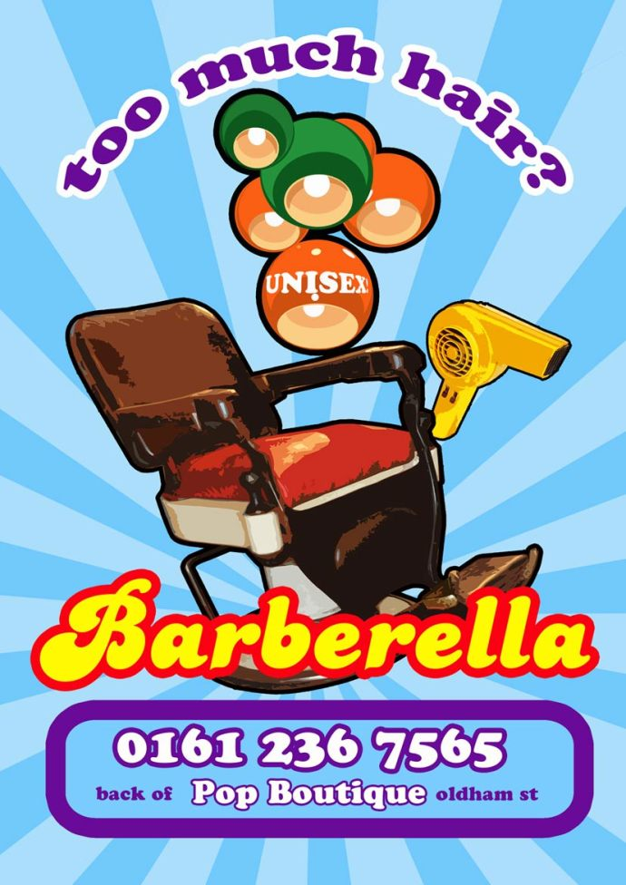 Barberella Barbers Manchester Poster