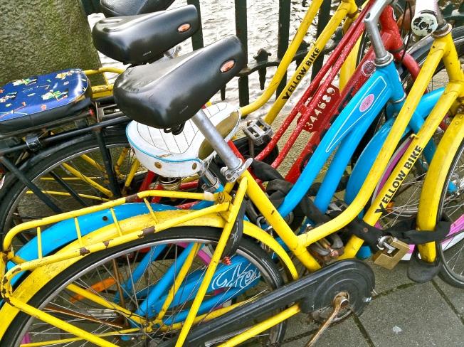 colourful bikes amsterdam