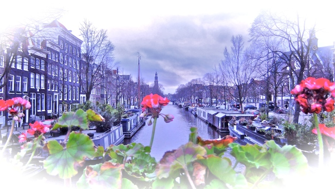 Canal View with Flowers Amsterdam