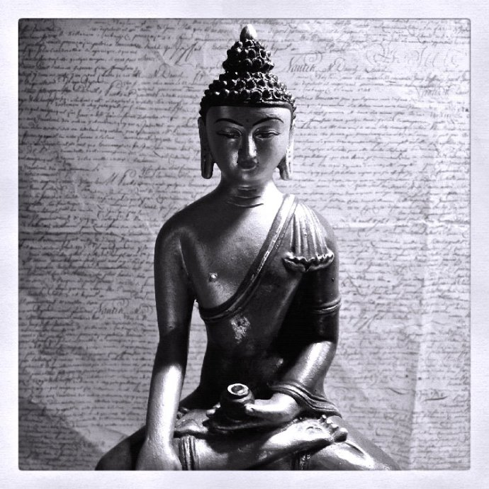 black and white buddha