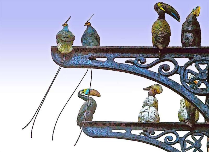 metal bird sculpture