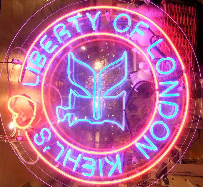 Liberty's London neon sign