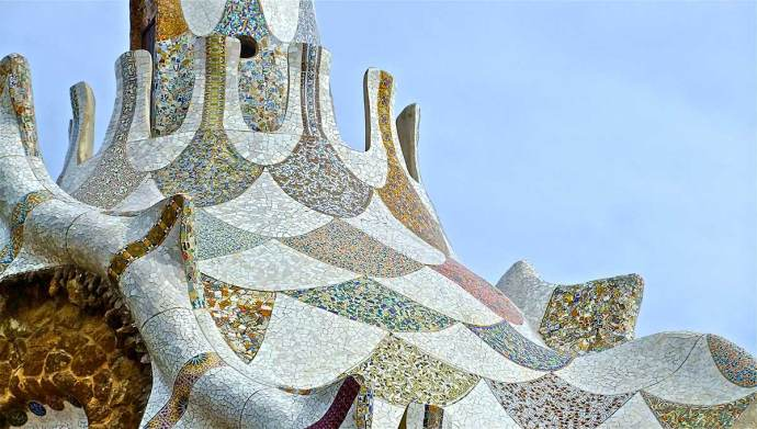 Gaudi Mosaic Roof Park Guell Spain