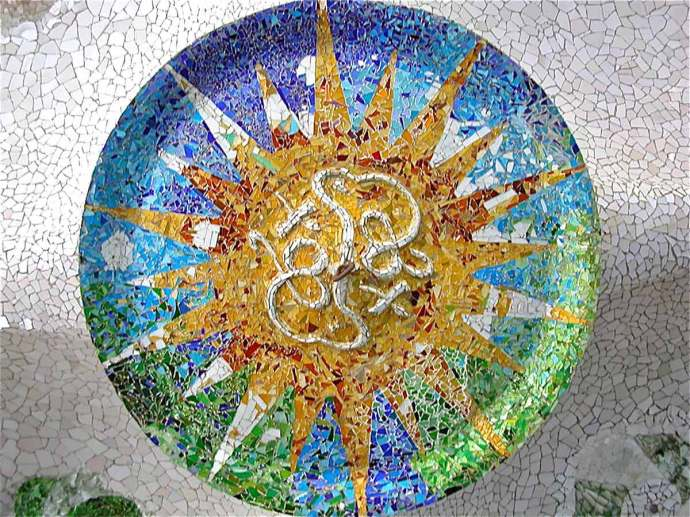 Sala Hipóstila Roof Mosaic Park Guell Spain Gaudi