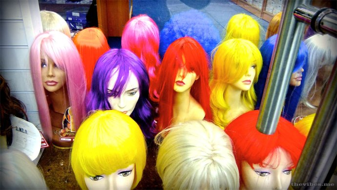 Coloured Wig display