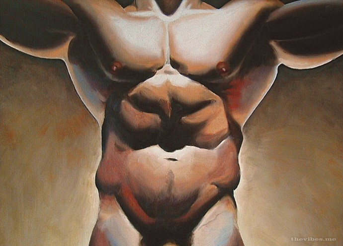 The Vibes Prey Male Nude Oil on Canvas