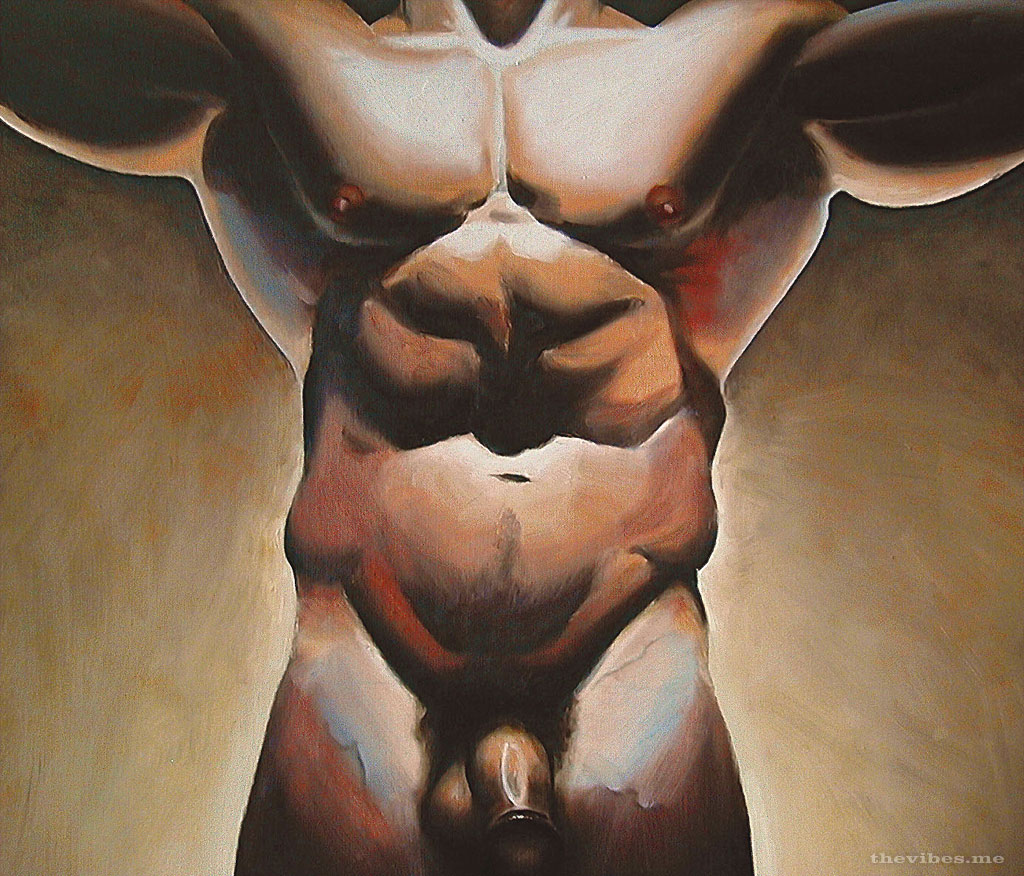 Prey by mark wallis oil on canvas male nude