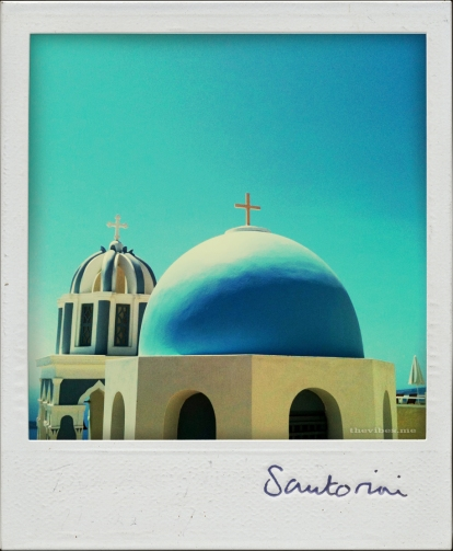 Blue dome church santorini the vibes