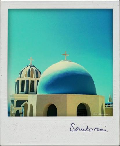 Blue dome church santorini the vibes