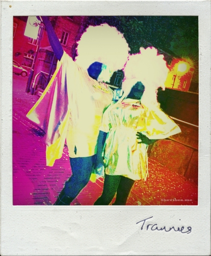 Polaroid of drag queens on Canal Street Manchester