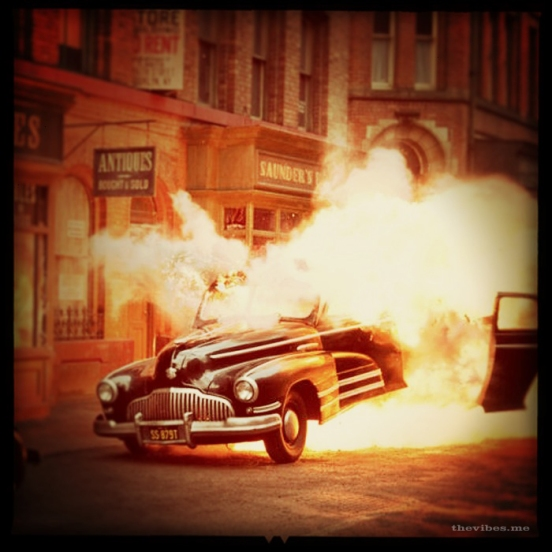 Exploding vintage car on the set of Captain America Manchester 2010