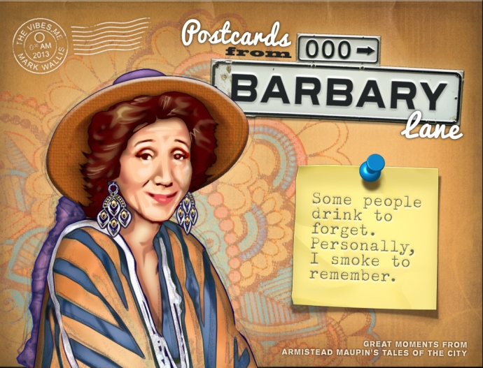 Postcards from Barbary Lane - Mrs Madrigal as played by Olympia Dukakis, illustration by Mark Wallis