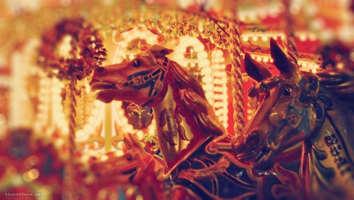 Christmas Victorian Carousel Horse at The Trafford Centre Manchester by Mark Wallis