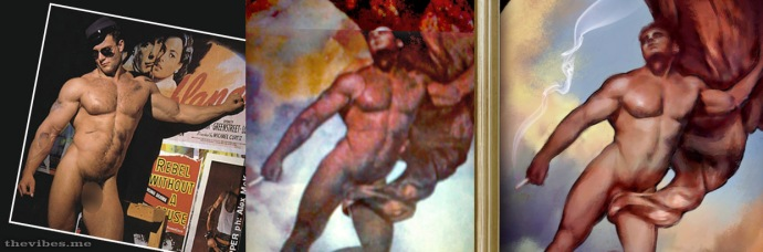The development of Dope Angel by Mark Wallis 1999 collage and digital paint
