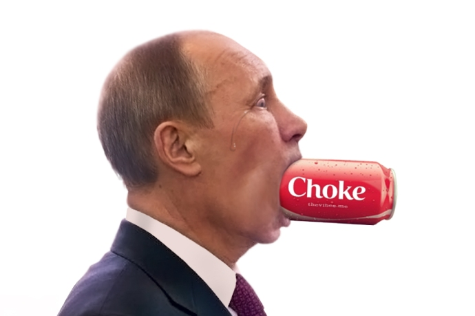 Vladimir Putin choking on a can of Coke