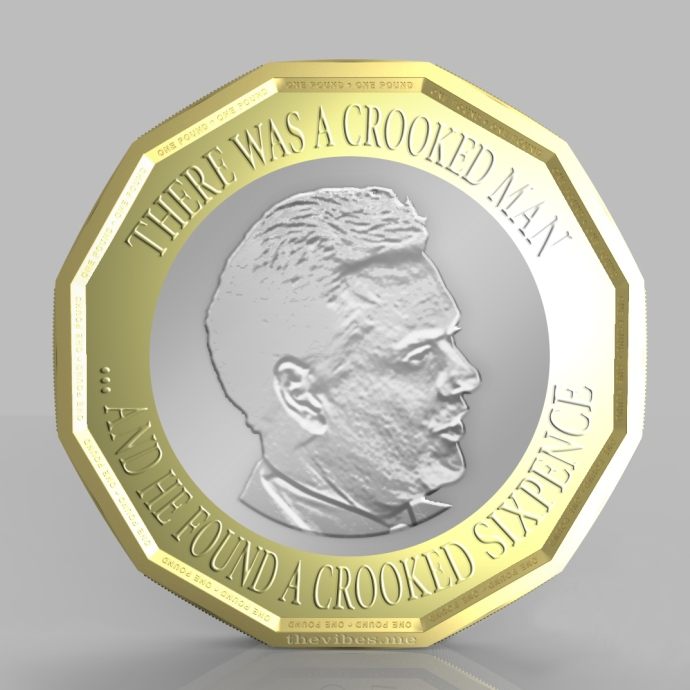 The new one pound coin with george Osborne by Mark wallis at thevibes.me
